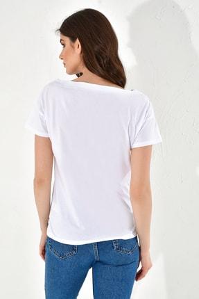 Hanna's Kadın Beyaz Işlemeli Kısa Kollu Tshirt