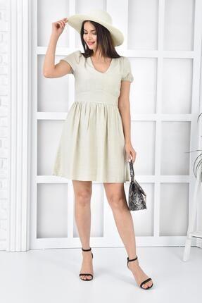 İroni Keten Büzgülü Mini Taş Elbise