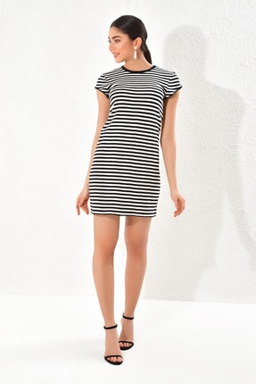 Hanna's Siyah Çizgili Kısa Kollu Elbise