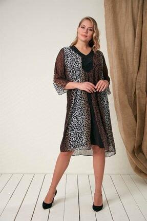Rmg Taş Detaylı Büyük Beden Leopar Elbise - 4068 Leopar