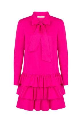 Nocturne Kadın Fuşya Fiyonk Bağlamalı Mini Elbise