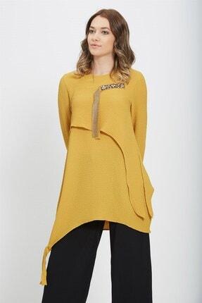 Nihan Kadın Sarı Asimestrik Kesim Leopar Kombinli Bluz X3069