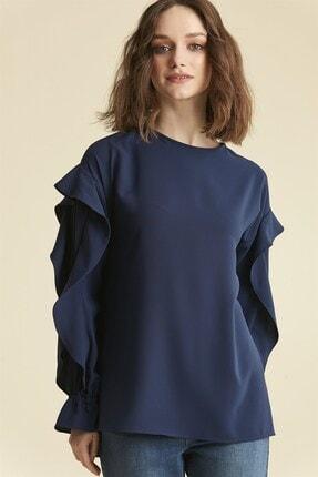Nihan Kol Detaylı Bluz - Lacivert X4200