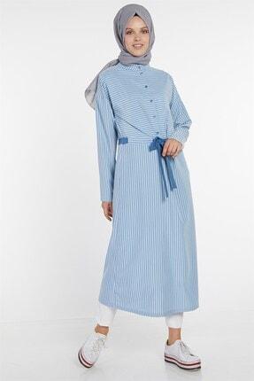 Nihan Kadın Açık Mavi Belden Büzgülü Çizgili Elbise X4205