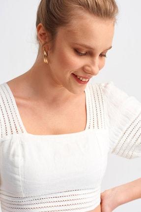 Dilvin Kadın Ekru 5798 Biyeli Crop Top Bluz 101A05798