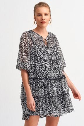 Dilvin Kadın Siyah 9073 Biye Detaylı Kat Kat Elbise 101A09073