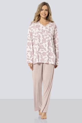 TÜREN Uzun Kollu Anne Pijama Takım % 65 Viskon % 35 Polyester
