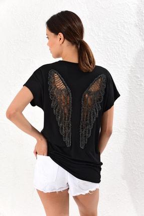 Kadın Siyah Sırtı Kanatlı Salaş Bluz BK1004
