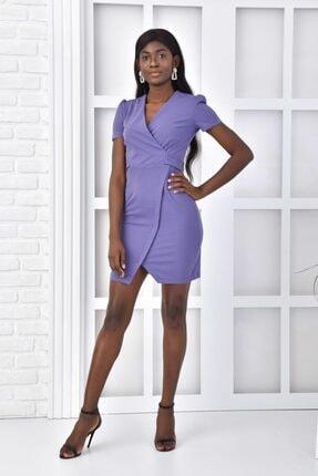 İroni Kruvaze Yırtmaçlı Mini Elbise