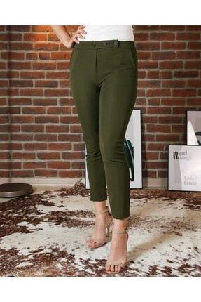 Düğme Detaylı Haki Renk Kadın Havuç Pantolon dhhp00the