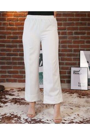 Duble Paça Beli Lastikli Beyaz Renkli Kadın Pantolon dlbp00l
