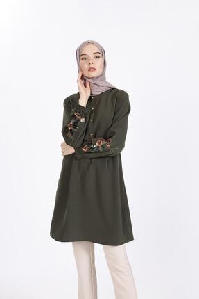 Sitare Kadın Yeşil Kolları Pul Nakışlı Tunik 19Y2520
