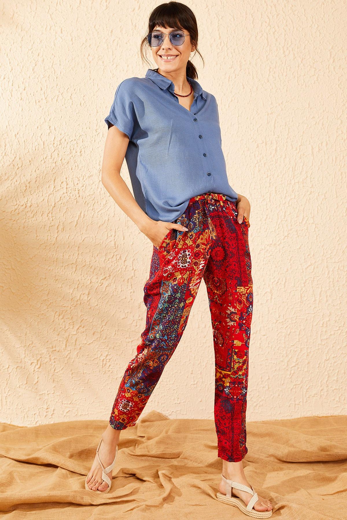 Bianco Lucci Kadın Kırmızı Beli Lastikli Multi Desenli Cepli Rahat Pantolon 10071025