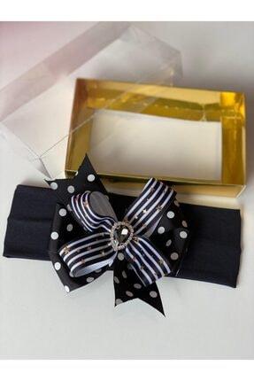 Bebek Kristal Taşlı Siyah 3d Kabartma Gold Altın Saç Bandı 063
