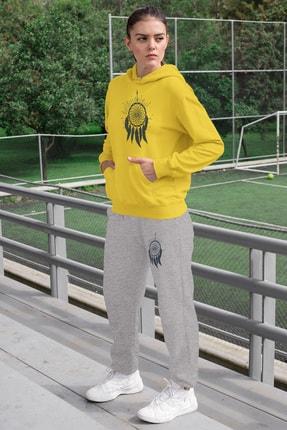 Angemiel Wear Tüylü Küpe Kadın Eşofman Takımı Sarı Kapşonlu Sweatshirt Gri Eşofman Altı