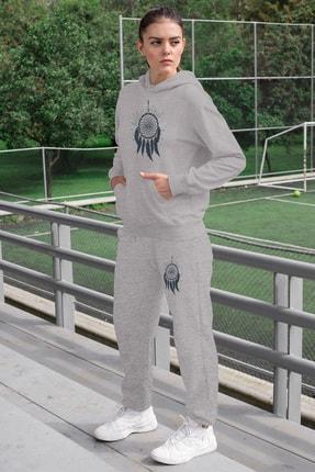 Angemiel Wear Tüylü Küpe Kadın Eşofman Takımı Gri Kapşonlu Sweatshirt Gri Eşofman Altı