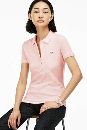 Lacoste Kadın Slim Fit Pembe Polo Yaka T-shirt PF7845