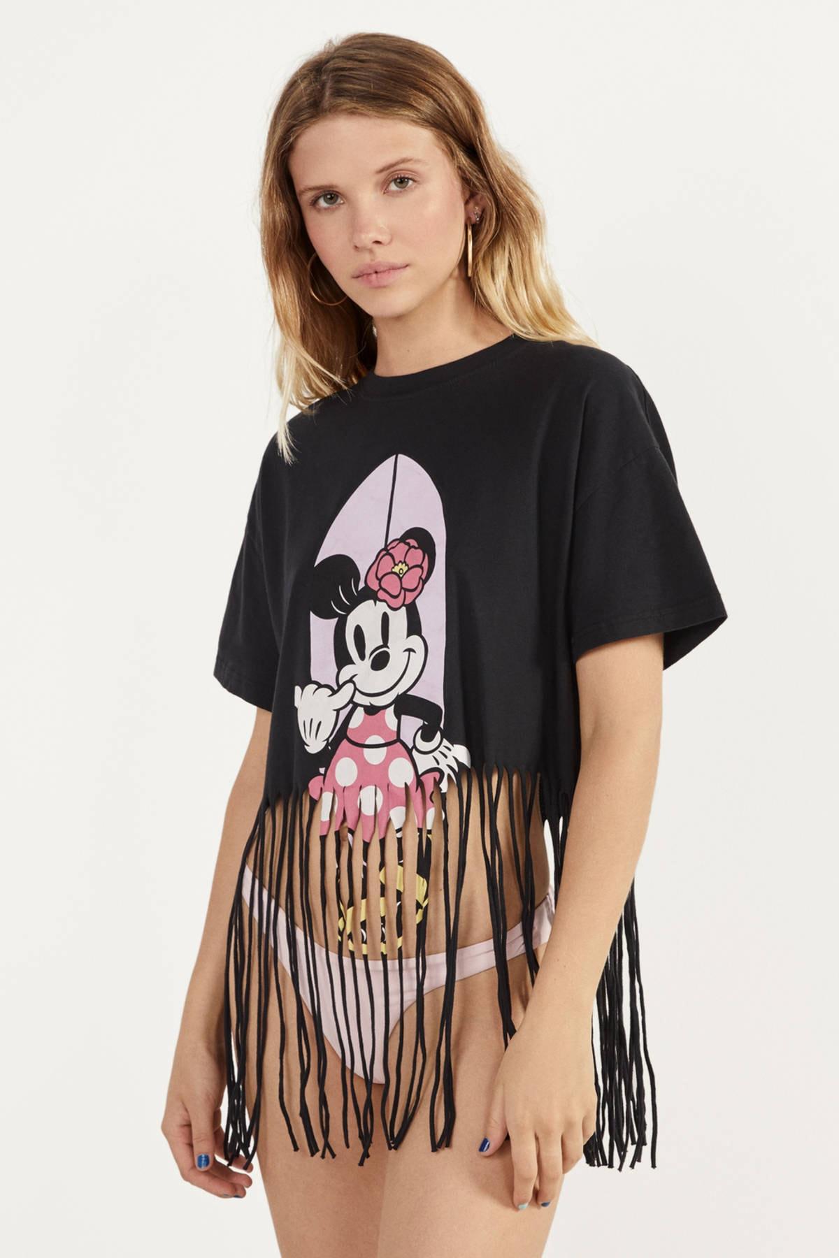 Bershka Kadın Siyah Püsküllü Minnie Baskılı T-Shirt 02246167
