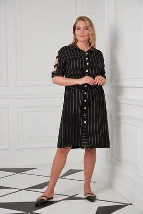 Rmg Kadın Siyah Kol Detaylı Büyük Beden Elbise