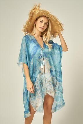 Y-London 13125-2 Batik Desenli Mavi Pareo