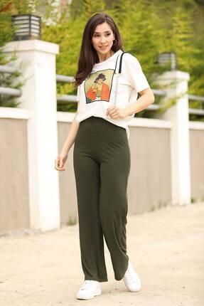 Nesrinden Fitilli Haki Kadın Pantolon
