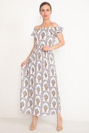 D-Paris Kayık Yaka Uzun Elbise