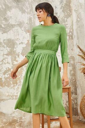 Mispacoz Piliseli Ayrobin Elbise Yeşil
