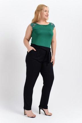 Big Free Kadın Siyah Beli Lastik Kuşaklı Cepli Dokuma Şalvar Pantolon Tb20Yb011115