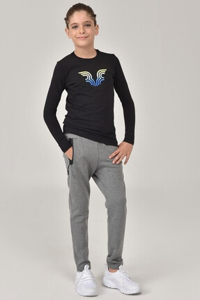 Bilcee Siyah Unisex Çocuk T-Shirt FW-1484