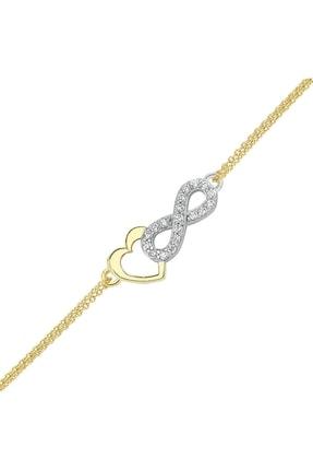 Altın Sepeti Altın Sonsuz Aşk Kalp Bileklik