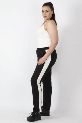 Şans Kadın Siyah Tek Yanı Şeritli Bel Kısmı Lastikli Cepli Spor Pantolon 65N16432