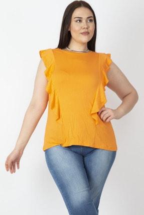 Şans Kadın Oranj Fırfır Detaylı Bluz 65N16543