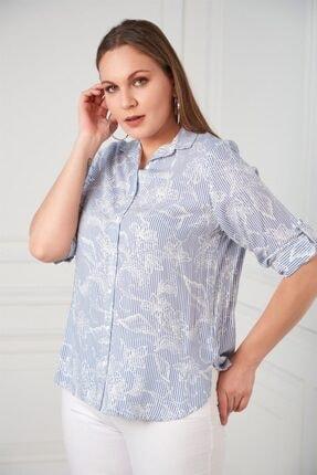 Rmg Kadın Çiçek Desenli Büyük Beden İndigo Gömlek