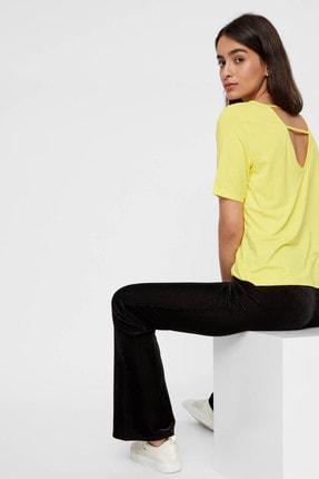 Pieces Kadın Sarı Sırt Detaylı V Yaka T-Shirt 17101393 PCHANNAH 17101393
