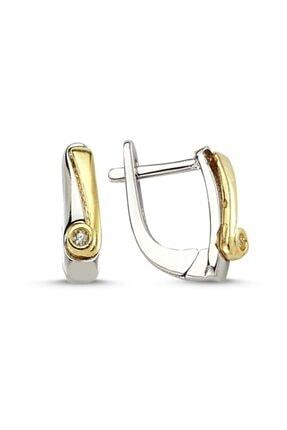 Silverella Gümüş 925 Ayar Zirkon Taşlı Çift Renk Küpe