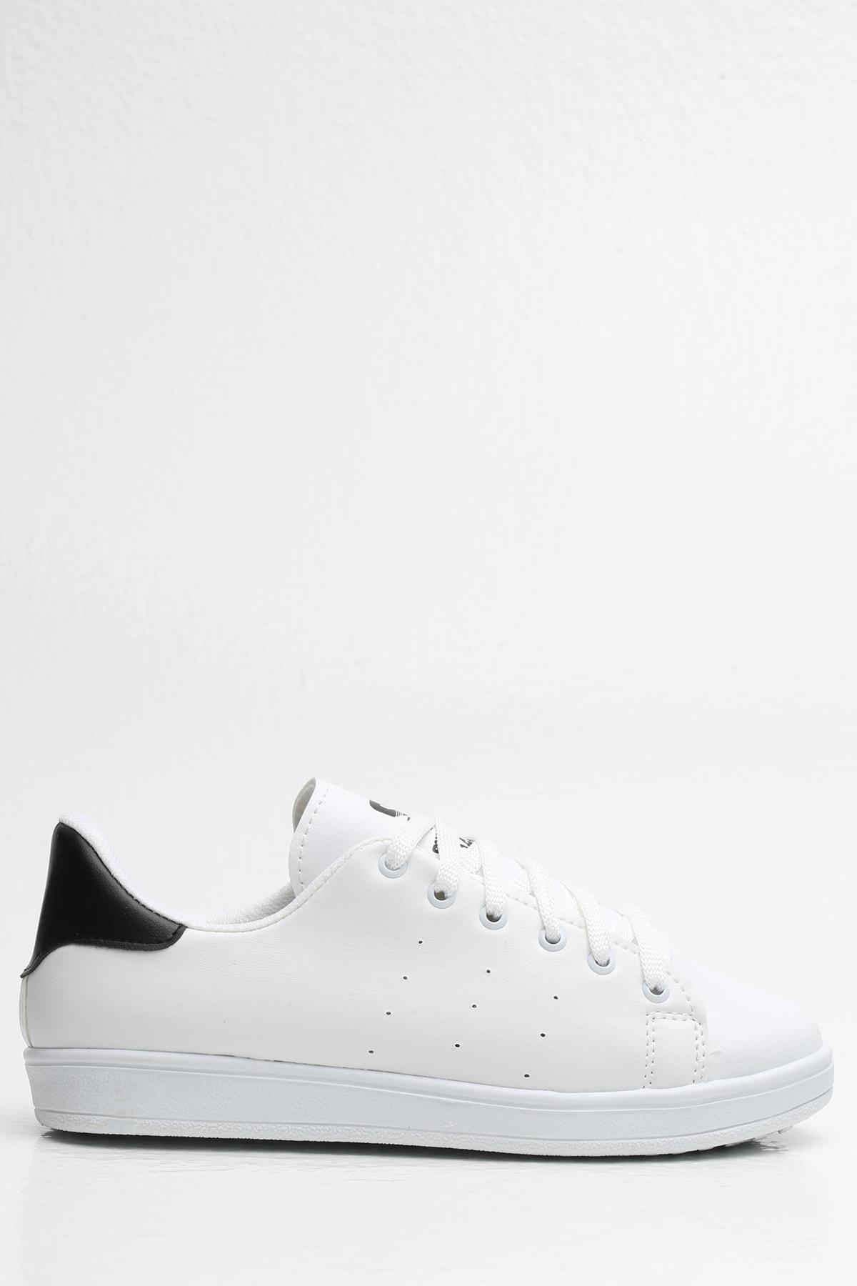 Ayakkabı Modası Beyaz-Siyah Kadın Sneaker BM-4000-20-101004