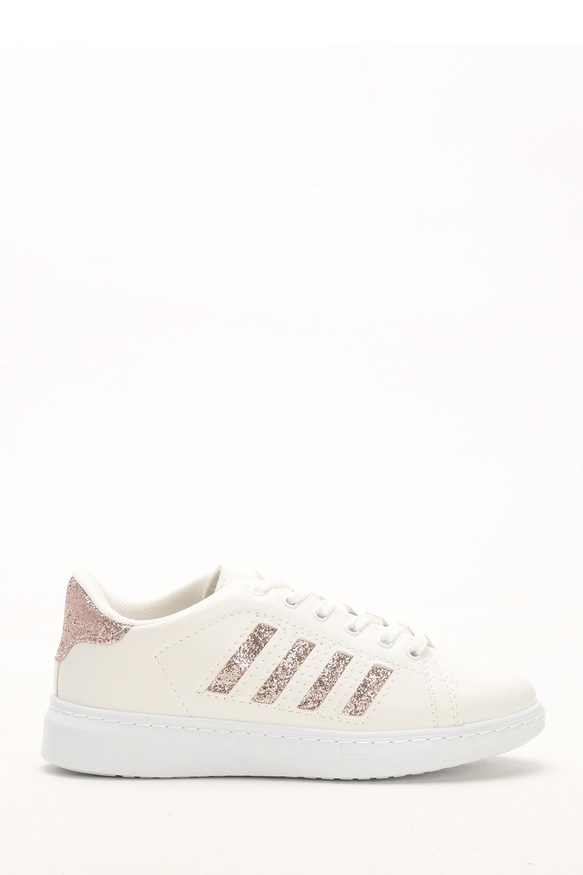 Ayakkabı Modası Beyaz-Bakır Kadın Sneaker BM-4000-19-101001