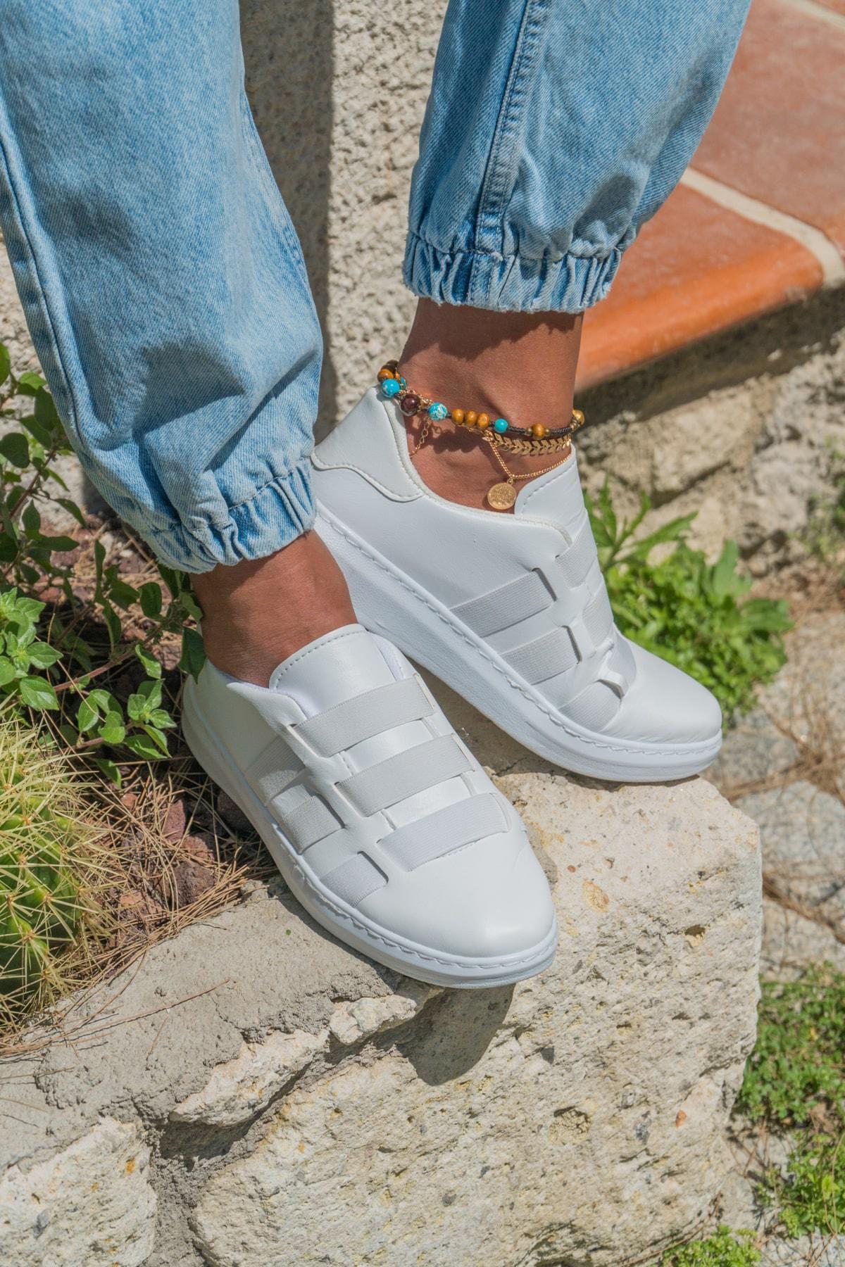 Ayakkabı Modası Beyaz-Beyaz Kadın Sneaker BM-4000-20-101011