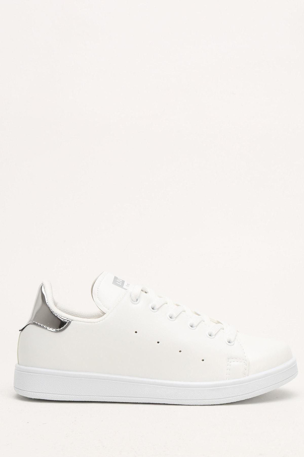 Ayakkabı Modası Beyaz-Gümüş Kadın Casual Ayakkabı BM-4000-19-110003