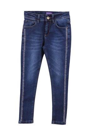 Breeze Kız Çocuk Kot Pantolon Taş Baskılı Mavi (6-14 Yaş)