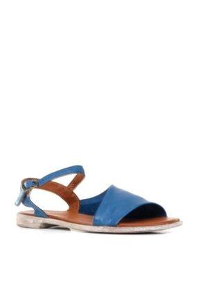 Bueno Asimetrik Detay Hakiki Deri Kadın Düz Sandalet 9n5001