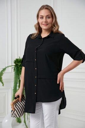 Rmg Kadın Siyah Asimetrik Büyük Beden Gömlek