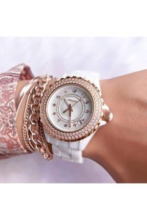 Sebago Marka Seramik Bayan Kol Saati-bileklik Hediyeli