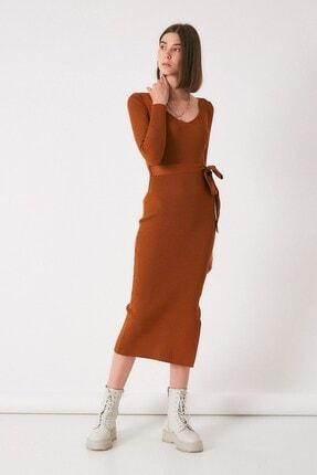 Robin Kadın Taba V Yaka Yırtmaçlı Triko Elbise