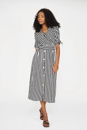 Batik Kadın Siyah Çizgili Casual Elbise
