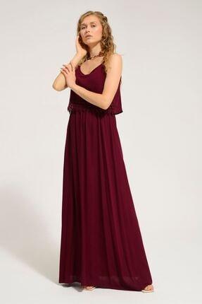 Batik Kadın Bordo Düz Casual Kısa Kol Elbise Y42783