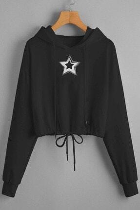 Boutiquen Psdn-k01 Yıldız Baskılı Beli Bağcıklı Kapşonlu Siyah Sweatshirt-6f