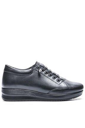 Bulldozer Kadın Siyah Hakiki Deri Yürüyüş Ayakkabısı 210682