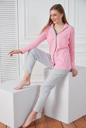 Morpile Kadın Pembe Düğmeli Pijama Takım
