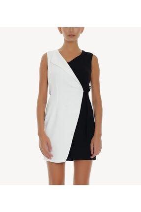 Ayhan Kadın Siyah Beyaz Kapaklı Elbise